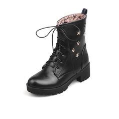 De mujer Cuero Tacón bajo Botas al tobillo con Correa Trenzada zapatos