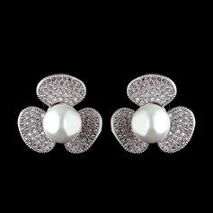 Unique Pearl/Zircon Ladies' Earrings