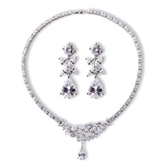 Ladies' Elegant Copper/Platinum Plated With Pear Cubic Zirconia Jewelry Sets For Bride/For Mother