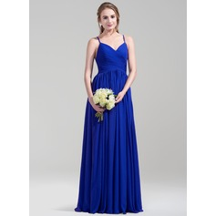 A-Line/Princess Floor-Length Chiffon Bridesmaid Dress With Ruffle (007072810)