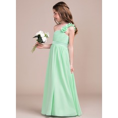 A-Line One-Shoulder Floor-Length Chiffon Junior Bridesmaid Dress With Ruffle Flower(s) (009081153)