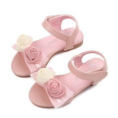 Flicka Peep Toe konstläder platt Heel Sandaler Platta Skor / Fritidsskor Flower Girl Shoes med Satäng Blomma