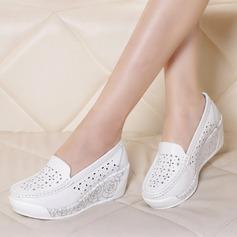 Frauen Echtleder Keil Absatz Geschlossene Zehe Keile mit Hohl-out Schuhe