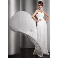Çan/Prenses V Yaka Watteau Kuyruk Chiffon Gece Elbisesi Ile Büzgü Boncuklama (017005601)