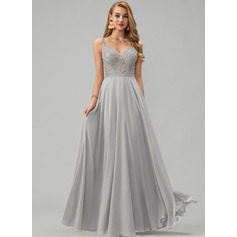 A-Line V-neck Floor-Length Chiffon Prom Dresses With Beading (018220839)