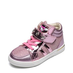Girl's Closed Toe Leatherette Mesh Flat Heel Flats Sneakers & Athletic With Velcro Rivet