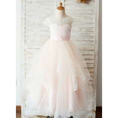 A-Line Floor-length Flower Girl Dress - Satin/Tulle/Lace Short Sleeves Scoop Neck (Undetachable sash)