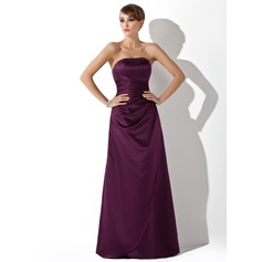 Sheath/Column Strapless Floor-Length Satin Bridesmaid Dress With Ruffle Beading