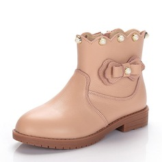 Girl's Real Leather Flat Heel Closed Toe Ankle Boots Boots With Bowknot Imitation Pearl Zipper