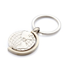 Personalized Globes Stainless Steel Keychains (Set of 4)
