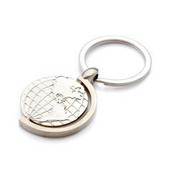 Personlig Glober Rostfritt Stål Nyckelringar (Sats om 4)
