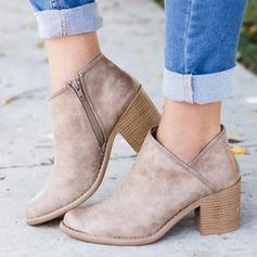 Naisten Mokkanahka Chunky heel Sandaalit Avokkaat jossa Vetoketju kengät