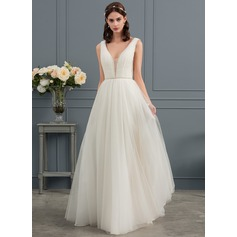 A-Line/Princess V-neck Sweep Train Tulle Wedding Dress With Ruffle Beading Sequins