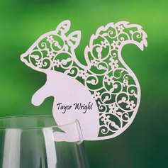 Squirrel Shaped Pearl Paper Place Cards (set of 12)