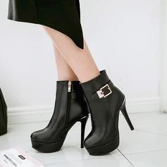 Kvinnor PU Stilettklack Pumps Plattform Stövlar med Spänne Zipper skor