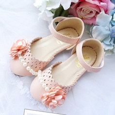 Girl's Leatherette Flat Heel Closed Toe Flats With Beading Velcro Flower