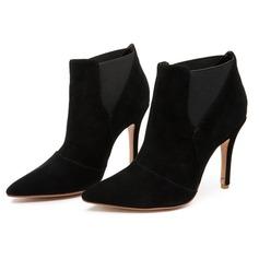 Femmes Suède Talon stiletto Bottines avec Plissé chaussures