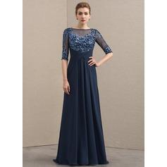 A-Linie/Princess-Linie U-Ausschnitt Sweep/Pinsel zug Chiffon Spitze Kleid für die Brautmutter mit Rüschen
