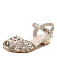Girl's Peep Toe Sparkling Glitter Flat Heel Flats Flower Girl Shoes With Velcro