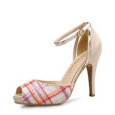 Femmes PU Talon stiletto Sandales Escarpins À bout ouvert avec Boucle chaussures