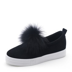 Women's Suede Flat Heel Flats With Fur shoes