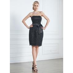 Vestido tubo Estrapless Hasta la rodilla Encaje Vestido negros (043005246)