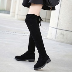 Women's Suede Low Heel Boots Over The Knee Boots With Lace-up shoes