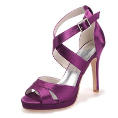 Women's Satin Stiletto Heel Peep Toe Platform Sandals Slingbacks With Buckle (047066043)