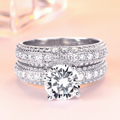 925 Sterling Silver With Round Cubic Zirconia Rings/Promise Rings/Bridal Sets/Stackable Rings For Bride