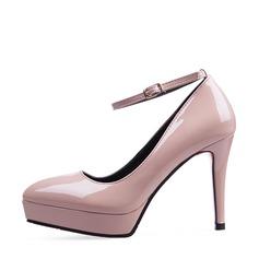 Kvinnor Konstläder Stilettklack Pumps Plattform Stängt Toe med Spänne skor