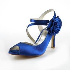 Women's Satin Stiletto Heel Peep Toe Sandals Slingbacks With Satin Flower