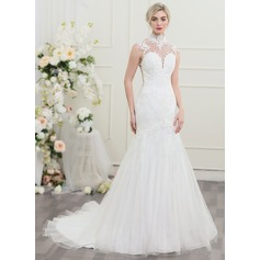 Trumpet/Mermaid High Neck Chapel Train Tulle Wedding Dress