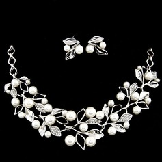 Leaves Shaped Alloy Rhinestones Pearl Women's Jewelry Sets