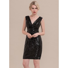 Sheath/Column V-neck Knee-Length Sequined Homecoming Dress With Ruffle