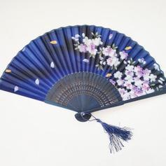 Floral Design Bamboo/Linen Hand fan