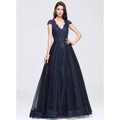 Ball-Gown V-neck Floor-Length Tulle Prom Dresses With Beading Appliques Lace (018075969)