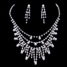 восхитительно сплав/жемчуг с горный хрусталь женские Комплекты ювелирных изделий