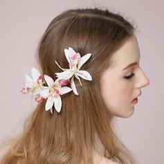 Hermoso/En forma de flor Seda artificiales Peines y pasador (Se venden en una sola pieza)