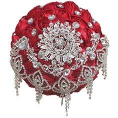 Redondo Satén/Rhinestone Ramos de novia (vendido en una sola pieza) -