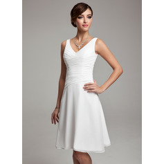 A-Line V-neck Knee-Length Chiffon Bridesmaid Dress With Ruffle Beading Sequins (007001083)
