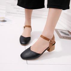 Kvinder PU Stor Hæl sandaler Lukket Tå Slingbacks med Spænde sko