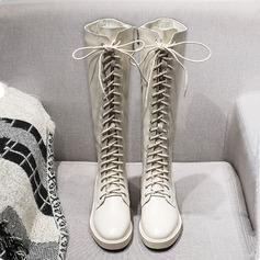 Femmes Similicuir Talon bas Bottes Bottes hautes Bottes cavalières avec Zip Dentelle chaussures