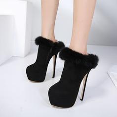 Frauen Veloursleder Stöckel Absatz Absatzschuhe Plateauschuh Stiefelette mit Reißverschluss Pelz Schuhe