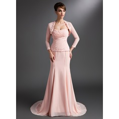 Trumpet/Mermaid Sweetheart Court Train Chiffon Mother of the Bride Dress With Ruffle Lace Beading Sequins