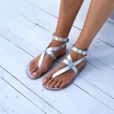 Kvinner Lær Flat Hæl Sandaler Flate sko Titte Tå Slingbacks med Spenne sko (087206990)