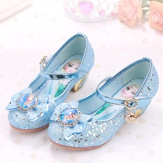 Jentas Lukket Tå Sparkling Glitter lav Heel Pumps Flower Girl Shoes med Rhinestone Glitrende Glitter Velcro