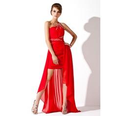 A-Line/Princess One-Shoulder Asymmetrical Chiffon Prom Dress With Ruffle Beading