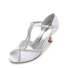 Kvinner silke som sateng Stiletto Hæl Titte Tå Pumps Sandaler med Spenne Rhinestone Kjede