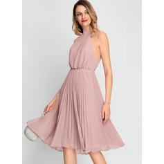 Çan Yüksek Boyun Diz Hizası Şifon Kokteyl Elbisesi Ile Büzgülü
