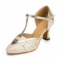 Mulheres Espumante Glitter Saltos Sandálias Salão de Baile com Correia -T Sapatos de dança